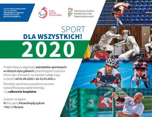 """""""Sport dla wszystkich 2020"""" – ruszyły warsztaty!"""