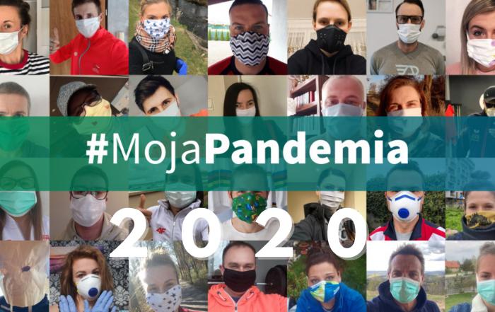 #MojaPandemia 2020 - napis na przedzie, w tle zdjęcia paraolimpijczyków w maseczkach